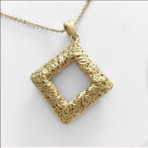 Jewelry - Filigree Square Pendant Necklace Gold-Tone